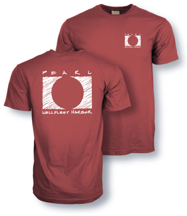 close up of the front and back of Pearl Wellfleet Harbor red t-shirt