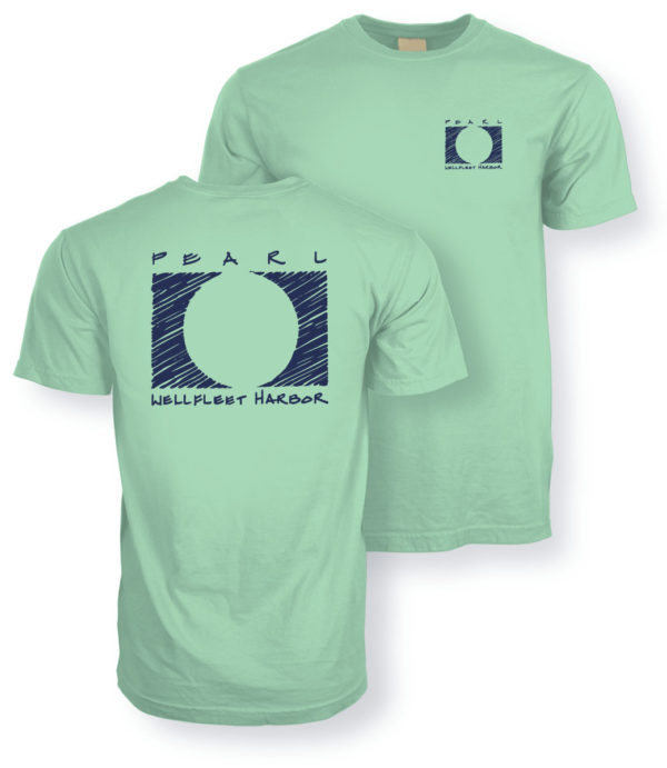 close up of the front and back of Pearl Wellfleet Harbor green t-shirt